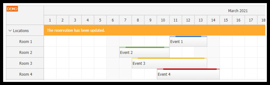 javascript scheduler user experience message