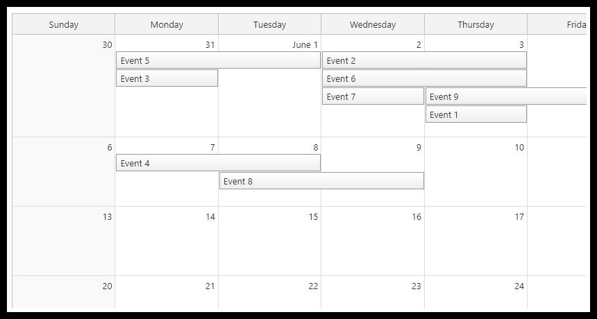 javascript html5 monthly event calendar